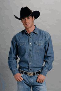 """Stetson """"Tall"""" Long Sleeve Denim Shirt"""
