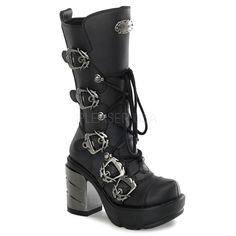Multi buckle calf boots with brushed chrome ABS heel. These boots feature  industrial buckles, lace-up front and a side zipper - Demonia Sinister 203