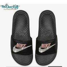 best service 888d0 aa94a Nike Benassi Slides Sandals Black Rose Gold Custom Bling Clear Crystal  Swarovski Flip Flops, Athleti