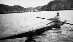 Inuit man and his kayak
