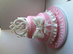 My princess tiara cake - a 2 tier vanilla cake with a handmade sugarpaste tiara
