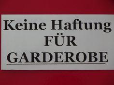 Für Garderobe keine Haftung-Alu-Schild-200x100x1 mm-Warnschild-Hinweisschild