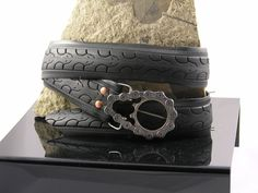 Recycled Belt with Fixie Belt Buckle (3R's, reduce, reuse, recycle, used, upcycle, repurpose, use, uses, ideas, inspiration, old, fun, creative, bicycle, tire, wheel, parts, bike)