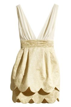 ROMWE | Two-layer Wave Hem Pleated Embroidered Cream Dress, The Latest Street Fashion