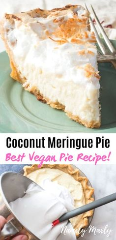 This vegan Coconut Meringue Pie recipe is the BEST creamiest pie ever! It's made with coconut milk, and completely egg and dairy free. Add this to your favorite plant-based desserts! This easy coconut pie with meringue topping is so rich and creamy, you'l Coconut Milk Recipes, Coconut Desserts, Just Desserts, Eggless Desserts, Best Vegan Recipes, Vegan Dessert Recipes, Snack Recipes, Healthy Recepies, Favorite Recipes