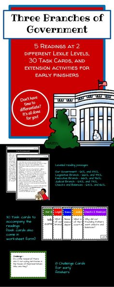 Are you looking for a way to access all levels of learners in your classroom? One of the easiest ways to meet the needs of all learners is to change the reading level of a text. Leveled reading passages: Our Government - 610L and 830L Legislative Branch - 660L and 990L Executive Branch - 660L and 960L Judicial Branch - 630L and 730L Checks and Balances - 640L and 1160L