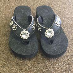 Blingy flip flops Thick sole! Super comfy Shoes
