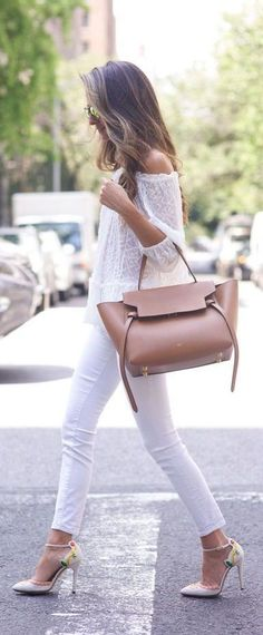 All white outfit with off the shoulder and skinny denim, add a heel and statement bag like the Celine belt bag in neutral. See more at www.HerStyledView.com