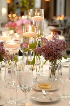 lilac centerpiece  with candles! Love this........