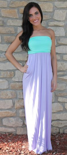 Dottie Couture Boutique - Color Block Maxi- Mint/Lilac, $46.00 (http://www.dottiecouture.com/color-block-maxi-mint-lilac/)