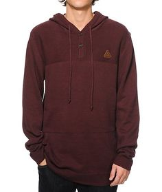 Improve your comfort and your outfits at once with a stylish woven burgundy design with a 2 button henley collar and soft cotton-acrylic construction.