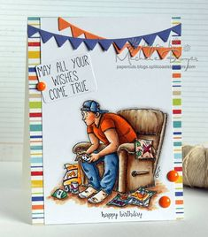 Bellarific Friday-anything goes challenge using GAME ON rubber stamp