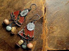 festive scrap tin earrings