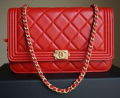 bc4ec12000b9 Chanel Le Boy Woc Wallet On Chain With Gold Hardware 15a Red Cross Body Bag.