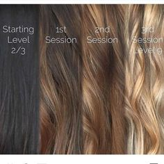 Brunette Balayage & Hair Highlights : From black to blonde with balayage sessions and Olaplex Ombre Hair, Balayage Hair, Hair Dye, Haircolor, Black To Blonde Hair, Going Blonde From Brunette, Brown To Blonde Hair Before And After, Olaplex Before And After, Blonde Brunette