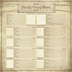 Karen Foster Design - Ancestry Collection - 12 x 12 Paper - My Family Group Sheet: Document who is on your family tree with the My Family Group Sheet from Karen Foster Design. Included is one x single-sided sheet of paper from the Ancestry Collection. Genealogy Forms, Genealogy Sites, Genealogy Chart, Family Genealogy, Genealogy Humor, Genealogy Search, Family Tree Research, Family Tree Chart, Family Trees