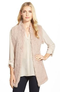 Free shipping and returns on Love Token Genuine Rabbit Fur & Knit Vest (Nordstrom Exclusive) at Nordstrom.com. A long vest is crafted from sumptuously soft rabbit fur with rib-knit side panels for a slim, streamlined silhouette.
