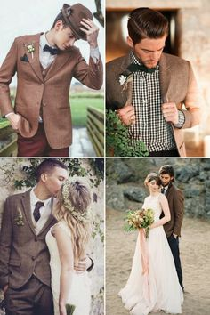 7ad1750c7e2f Goodbye Black Suits! 30 Stylish Colored Suits for Modern Grooms! Brown Suit  Wedding
