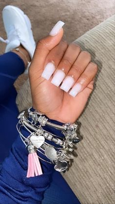 Short Square Acrylic Nails, Acrylic Nails Coffin Short, Simple Acrylic Nails, Summer Acrylic Nails, Best Acrylic Nails, Acrylic Toes, Short Square Nails, Simple Nails, Bling Acrylic Nails