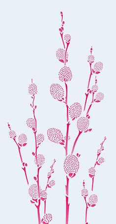 Oversize Pussy Willow Stencil - Henny Donovan Motif Stencils Uk, Stencil Designs, Line Drawing, Battle, Doodles, Dots, Stitches, Donut Tower, Doodle