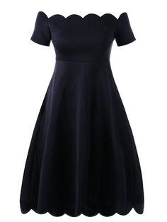 Curvy Girls' Fashion | Only $10.74 | Plus Size Scalloped Off Shoulder Formal Dress | Sammydress.com