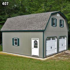 24x24 2 Car 2 Story Garage - Gambrel Roof - Carriage Doors