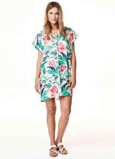 Multicolor Floral Print Short Sleeve Loose Shirt Dress