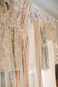 gold Sparkly Bridesmaids Dresses / http://www.deerpearlflowers.com/glitter-wedding-ideas-and-themes/