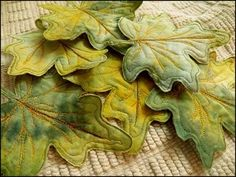 Free Sewing Pattern and Tutorial - Leaf Art Fabric Coasters by lea