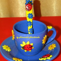 fimo Clay Projects, Polymer Clay, Ceramics, Mugs, Tableware, Glass, Handmade, Cutlery, French Tips