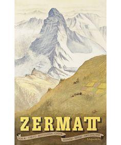 Original Travel Advertising Poster for Zermatt, Switzerland, featuring the Matterhorn by Swiss artist Emil Aufdenblatten Ski Vintage, Vintage Ski Posters, Zermatt, Ski Suisse, Alpine Ski Resort, Swiss Travel, Swiss Ski, European Travel, Tourism Poster