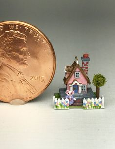 """OOAK Miniature Dollhouse House Storybook Cottage Tiny Handcrafted 1 4"""" Scale   eBay"""