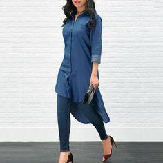 Women's Blue Jeans Denim T-Shirt Long Sleeve Lady Casual Loose Shirt Mini Dress Denim T Shirt, Denim Blouse, Jeans Denim, Denim Top, Designer Kurtis, Mini Shirt Dress, Long Sleeve Shirt Dress, Tee Dress, Plus Size Summer Dresses