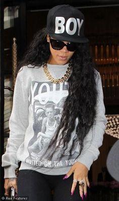 Rihanna wearing Boy London. Get yours here...http://www.seasonsclothing.co.uk/item/Boy-London/Boy-London-Boy-Cap---Black-on-Black/1CQB