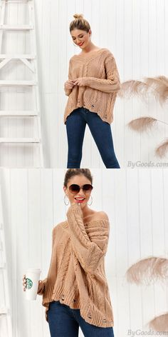 Leisure Knit Long Sleeve V-neck Twist Cardigan Coffee Loose Women Sweater #sweater #cardigan