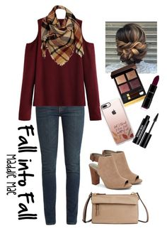 """Fall into Fall"" by maddiemae30 ❤ liked on Polyvore featuring Yves Saint Laurent, WithChic, Sylvia Alexander, Tahari, Tom Ford, Tumi, Edward Bess and Casetify"