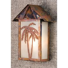 9.5 Inch W Tropical Floral Palm Tree Wall Sconce. 9.5 Inch W Tropical Floral Palm Tree Wall Sconce Theme:  MISSION ARTS & CRAFTS Product Family:  Tropical Floral Palm Tree Product Type:  WALL SCONCES Product Application:  WALL SCONCE -- ONE LIGHT Color:  ZARESB VINTAGE COPPER Bulb Type: MED Bulb Quantity:  1 Bulb Wattage:  60 Product Dimensions:  12.25H x 9.5W x 4.25DPackage Dimensions:  NABoxed Weight:   lbsDim Weight:  17 lbsOversized Shipping Reference:  NAIMPORTANT NOTE:  Every Meyda...