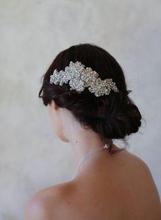 hand embroidered rhinestone hair flower, bridal headpiece, twigs and honey