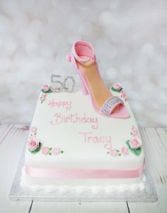 This is a lovely cake for any shoe lovers out there, pretty, girly and elegant. #pinkshoecake #highheelcake  #girlycake  https://www.craftycakes.com/