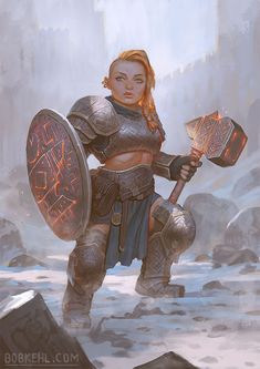f Dwarf Fighter Heavy Armor Shield WarHammer female Mountain Fortress trail ice [OC] Dwarven Forge Cleric by Bob Kehl characterdrawing lg Fantasy Character Design, Character Creation, Character Design Inspiration, Character Concept, Character Drawing, Character Ideas, Character Sketches, Art Sketches, Fantasy Warrior