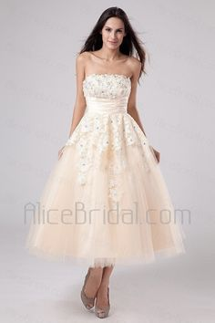Satin and Tulle Strapless Tea-Length A-line Wedding Dress with Embroidered - Alice Bridal