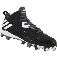 81f4fc25f9dc75 Adidas Wheelhouse 4 Mid Baseball Cleats - Mens Black White Silver Rogan s  Shoes