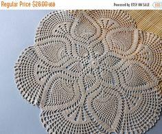 ON SALE Ivory cotton lace doily ecru hand crochet by fancyloopslj