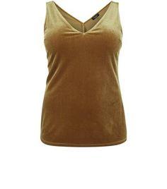 Curves Olive Green Velvet V Neck Vest