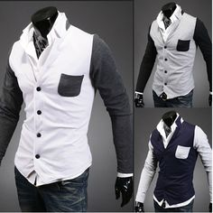 Korean cultivating spell color metro-sexual man knit cardigan jacket 3 colors to choose from $42.60
