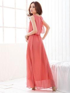 2014 Sleeveless Chiffon Scoop Neck Bohemian Maxi Dress