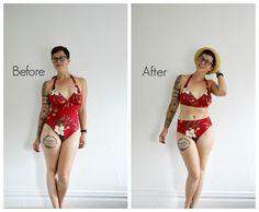 DIY High Waist Bikini in 5 Minutes NO SEW!: This DIY clothing hack gives swimsuits a high-waisted vintage feel! Diy Fashion No Sew, Trendy Fashion, Fashion Beauty, Fashion Tips, Fashion Clothes, Diy Vetement, Bikini Pattern, Thing 1, Diy Clothing