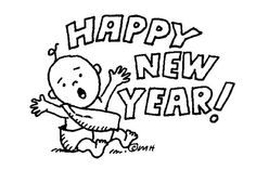 happy new year clip art black and white