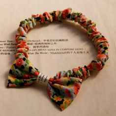 Bow-Accent Printed Hair Tie Multicolor - One Size