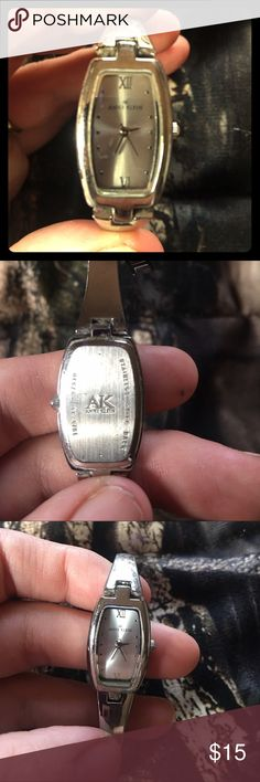 Anne Klein Silver Bracelet Watch ✨EUC✨ has a removable/adjustable back clasp for smaller or larger wrist sizes, I got this about a year ago & my husband just got me a new one so this one just sits around waiting to be worn. Excellent for those of us women who like small classy watches :) Anne Klein Accessories Watches